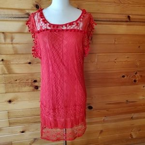 Vintage Unlabeled Red, Knit Lace Dress